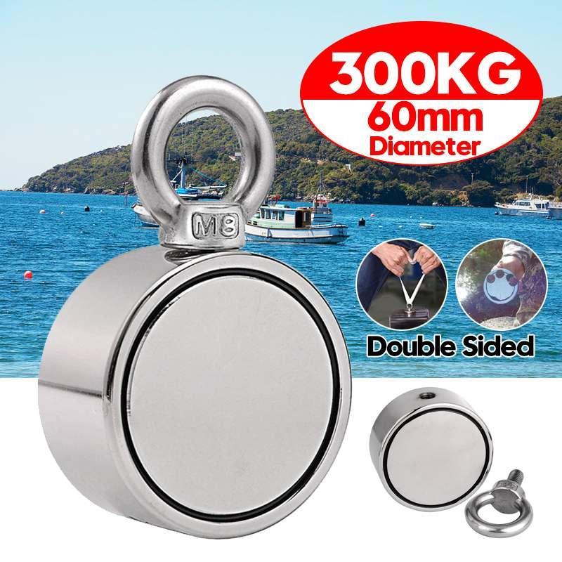 Side Duplo 300KG Magnet Pesca Strong rodada neodímio ímã Pesca Puxar montagem Pot com a ferramenta de mar profundo buraco anel