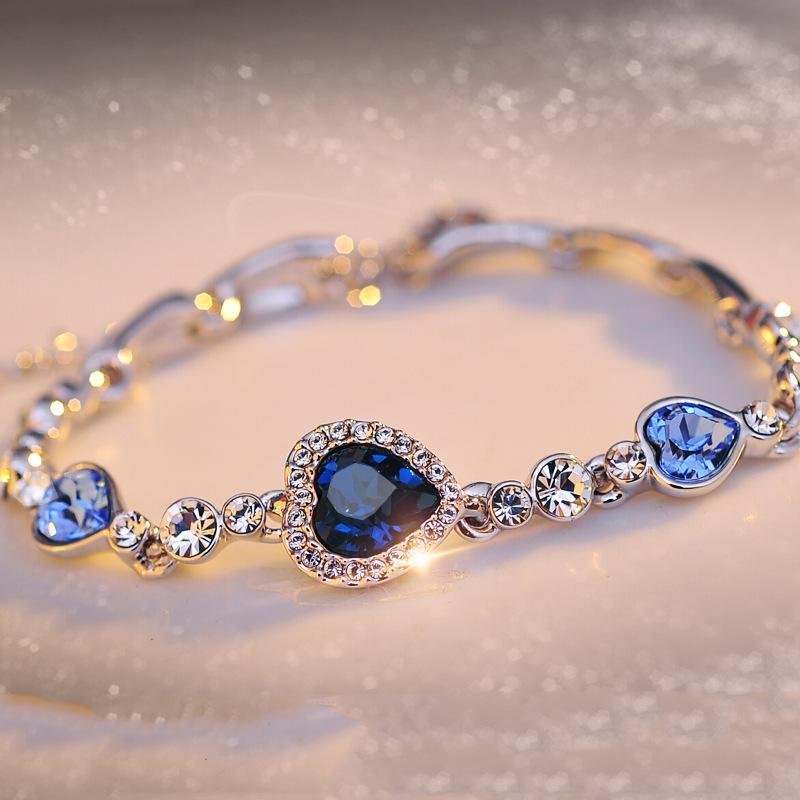 Crystal Blue Heart of Ocean Pulseras Rhinestone encantos del corazón brazalete de puños para las mujeres regalo de la joyería de moda DROP SHIP 162285