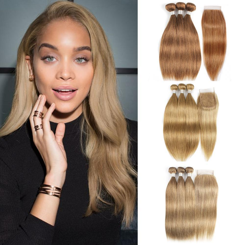 Indian Straight Hair 3 Bundles with Closure Human Hair Weave Color 8 Blonde #27 Honey Blonde #30 Brown Auburn