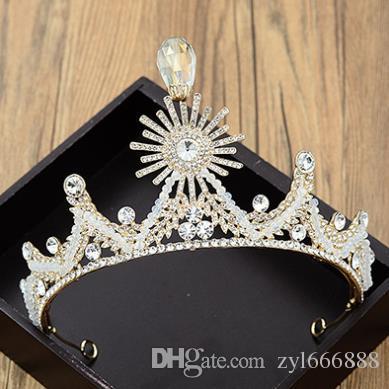 Bride handmade headdress wedding dress accessories European and American sunflower diamond crown Crystal Bead Hair Jewelry New Style