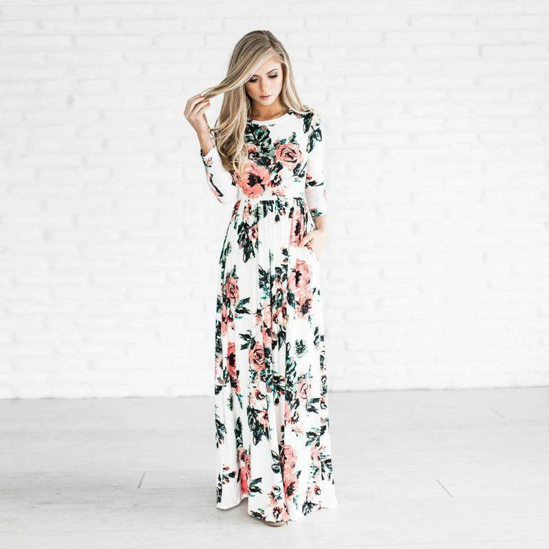Women Maxi Dresses Floral Printed Bohemian Summer Beach Evening