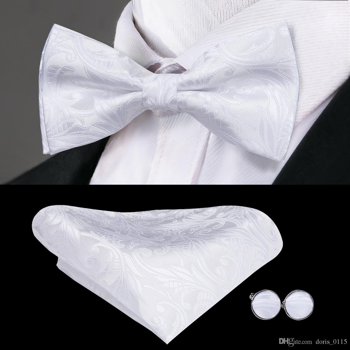 Hi-Tie Fashion Bowties Men White Floral Male Marriage Butterfly Wedding Bow ties With Handkerchief Cufflinks Freeing Shipping LH-790