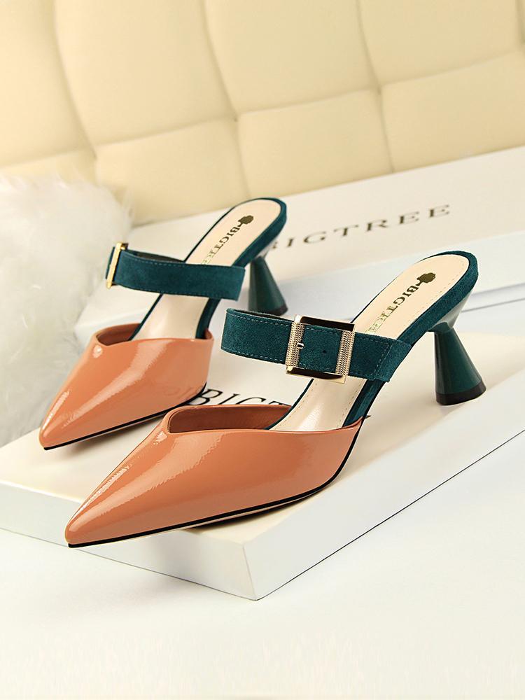 Designer-Sharp ou Xia Baotou moitié haute Slipper GROSSIERS Sandales Femme