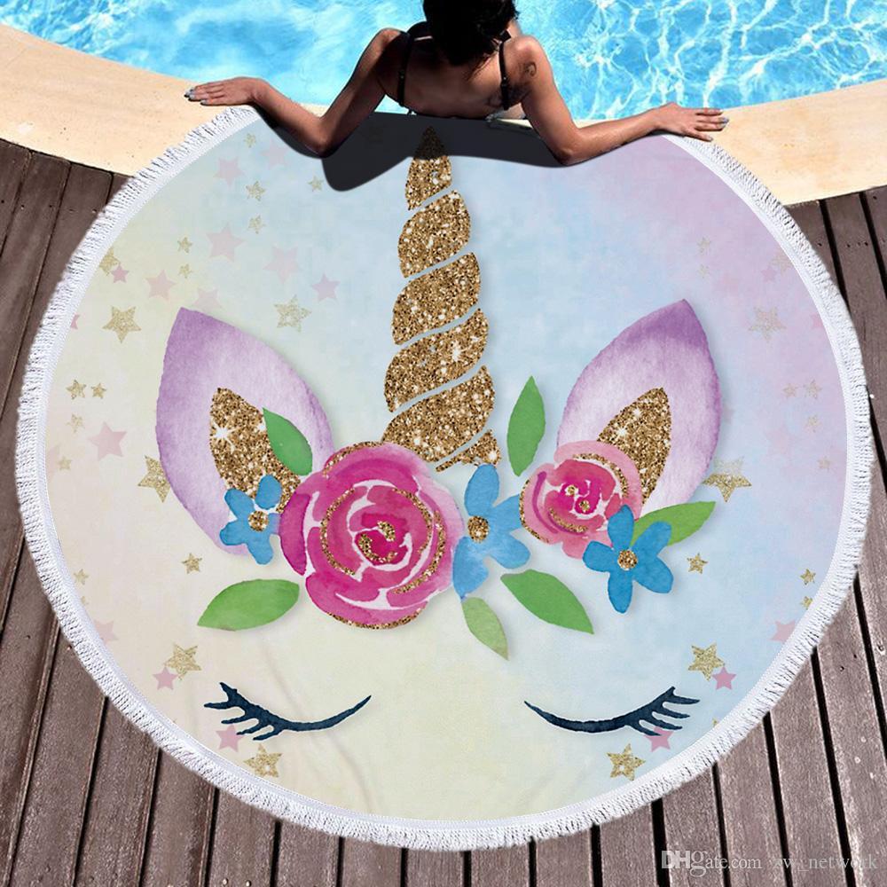 Unicornio Mujeres Ronda Toalla de playa con borla Microfiber Unicorn beach manta mantón Grueso Círculo suave toallas de baño Yoga Picnic Mat 460g