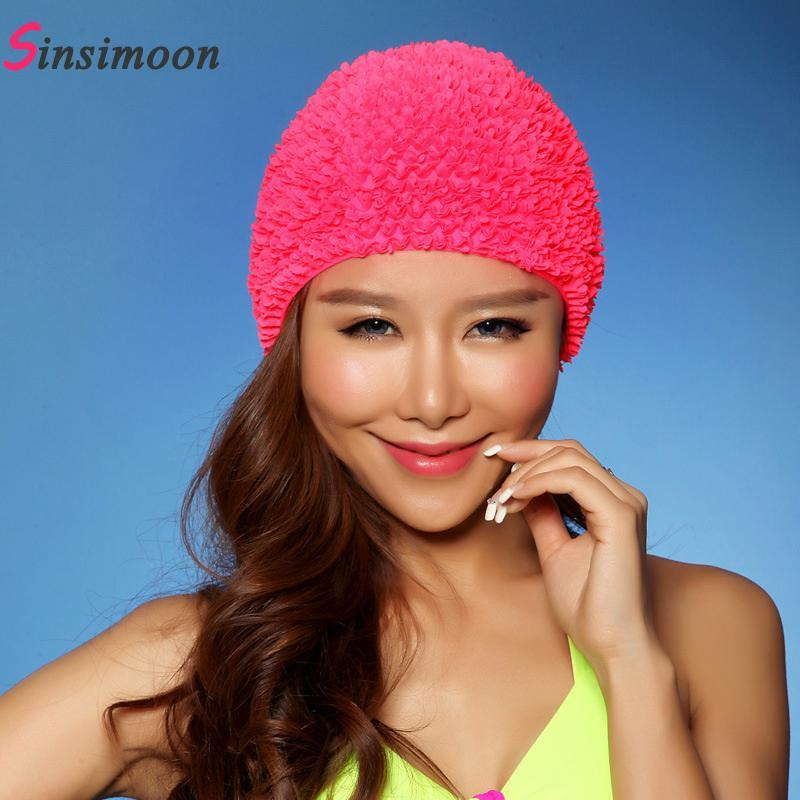 Sexy New Flower Women Swim Cap 2017 Hot Sale Swimming Hat for Long Hair Solid 3D Floral Swiming Caps for Girl Female Free Size
