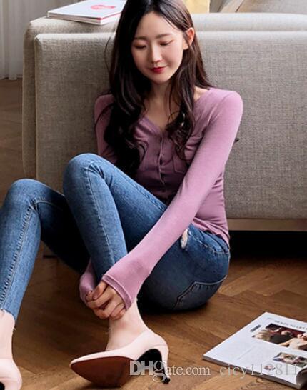 Pop2019 coreano v-pescoço botão sexy slim de mangas compridas t-shirt