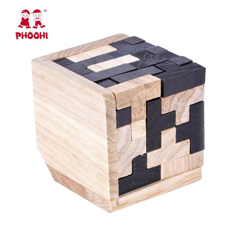 لعبة للتربية 3D خشبية الألغاز 54 PCS T على شكل هندسي بانوراما المنطق لغز للأطفال الصغار لعب تعليمية للأطفال