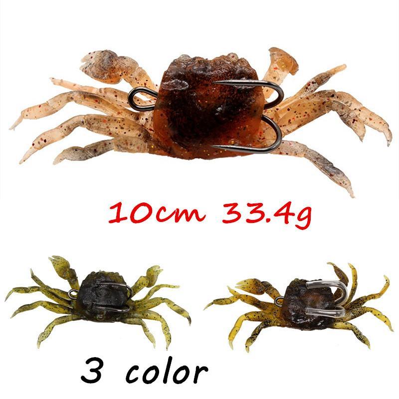 5pcs / lot 10 centímetros 33,4 g Crab Chumbo + PVC mole Iscas iscas de 3 cores 10 centímetros Mixed 33,4 g Pesca Ganchos Pesca Pesqueiro Acessórios BL_38