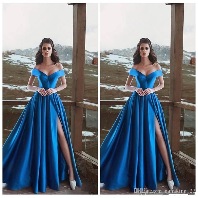 Sexy Royal Blue A-Line Prom Dresses High Side Split Short Sleeves Off Shoulder Pleast Elegant Evening Party Gowms Robe De Soree Cheap