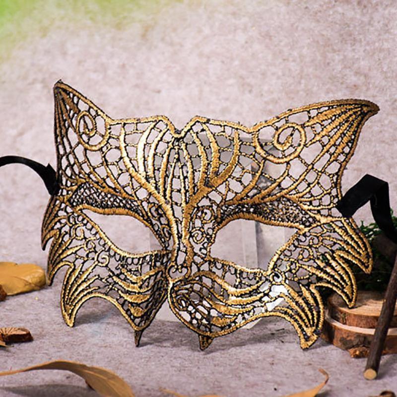 Mädchen weibliche sexye Kugelspitzeschablone Katze weibliche Maskerade Partei Augenmaske Katze Halloween Kostümball-Kostüm
