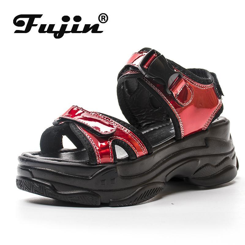 Fujin Frauen Sandalen 2020 neue Art und Weise Damen Freizeit Schuhe Bling Wedges Wölbungs-Bügel-Plattform-Schuhe 5 CM Sommer Sandalen