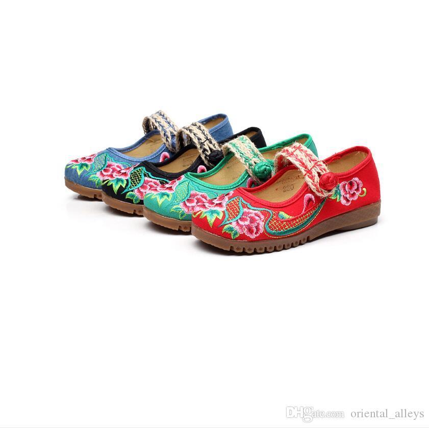 Primavera Estate Autunno Stile Nazionale Cinese ricamato scarpe di tela Oxford fondo orientale donne singolo panno scarpe Nero Beige Blu