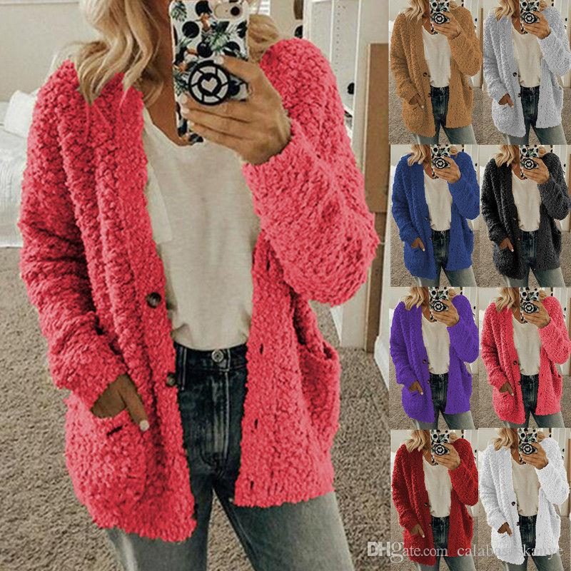 Плюс Размер Женская Толстые куртки сплошного цвета отворотом шеи Женская с длинным рукавом Куртки женские утепленные пальто