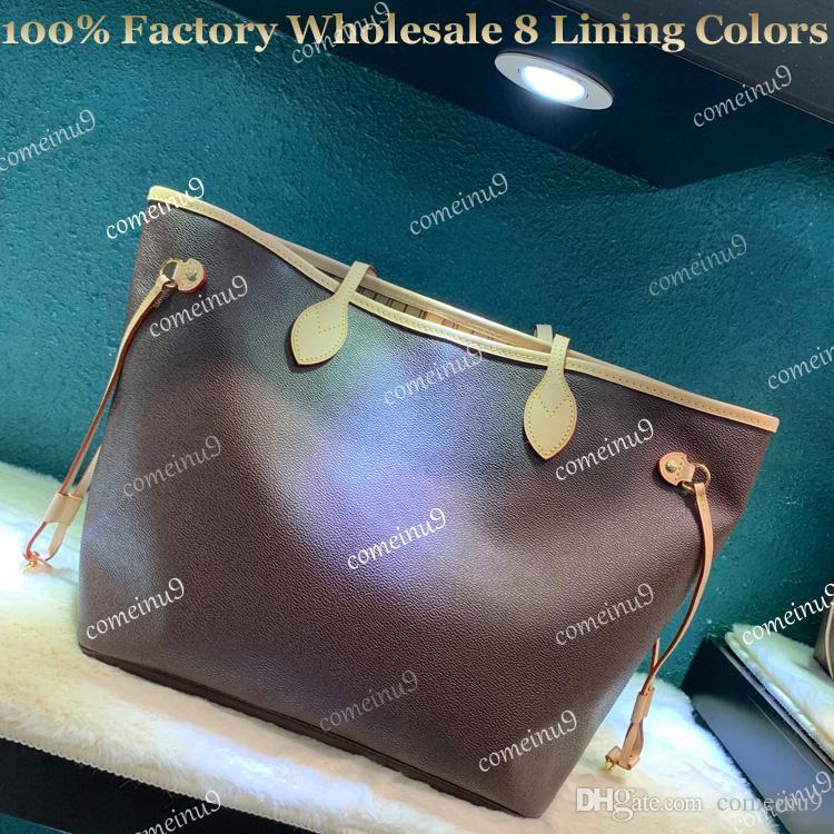 Totalizador de compras de las mujeres al por mayor de fábrica con pequeño embrague Bolso de cuero genuino 40996 Monedero femenino de alta calidad 41358 8 colores de forro