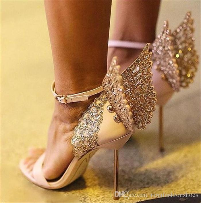 Summer Butterfly Wing sandals angel wings pumps ankle strap party dress bridal shoes butterfly ankle wrap high heels sandals