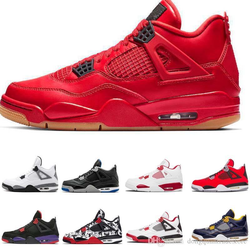 Zapatillas de baloncesto Tattoo 4 Singles Day 4s hombres Pure Money Royalty White Cement Raptors Gato negro Bred Fire Red para hombre Zapatillas de deporte Zapatillas de deporte