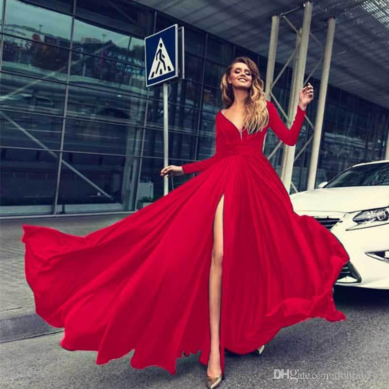 Avrupa ve Amerika Birleşik Devletleri dış ticaret-sıcak yeni elbise uzun etek kış patlama modelleri seksi derin V uzun kollu elbise