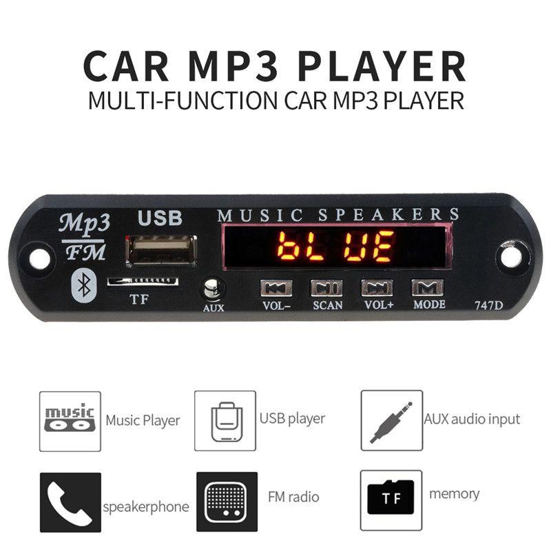 Bluetooth Wireless FM Receiver 5V 12V Car MP3 Player Decoder Board Audio Module Radio Wma FM TF USB 3.5mm AUX Speakers