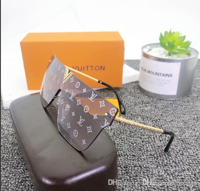 2020 Luxury Fashion Designers Largo Metallo sole Lenti vetri vetro donne per gli uomini protezione UV Occhiali da sole H5