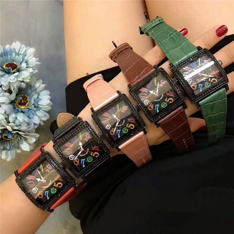 Alta calidad Nueva Plaza Maestro 6000 H SC DT NR COL DRM R D Negro línea Diamante Mujeres bisel de los hombres de lujo relojes de diseño Correa de cuero