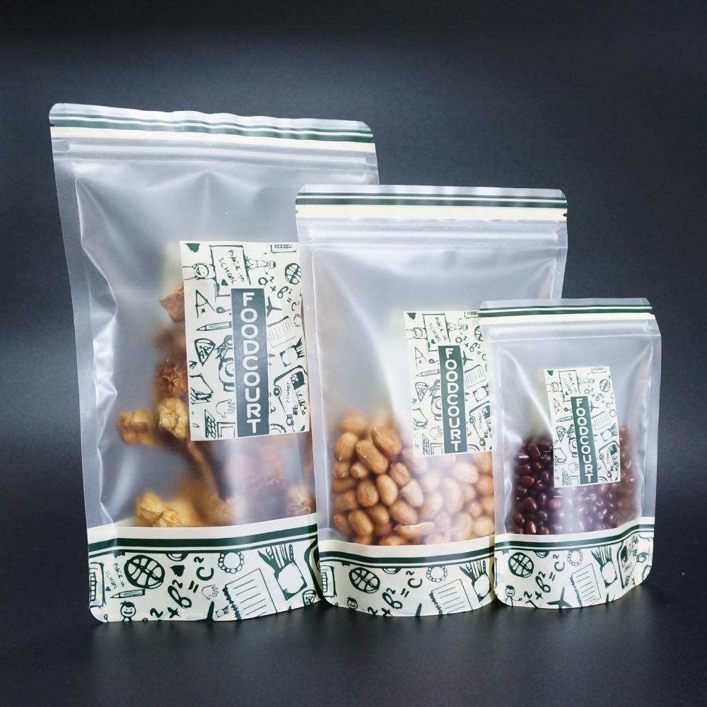 Bulk Food Storage Pouch Stand Up opaca trasparente con zip sacchetto di plastica riutilizzabile 100pcs cacao dado della guarnizione Borse antipolvere nozze Cookie pacchetto