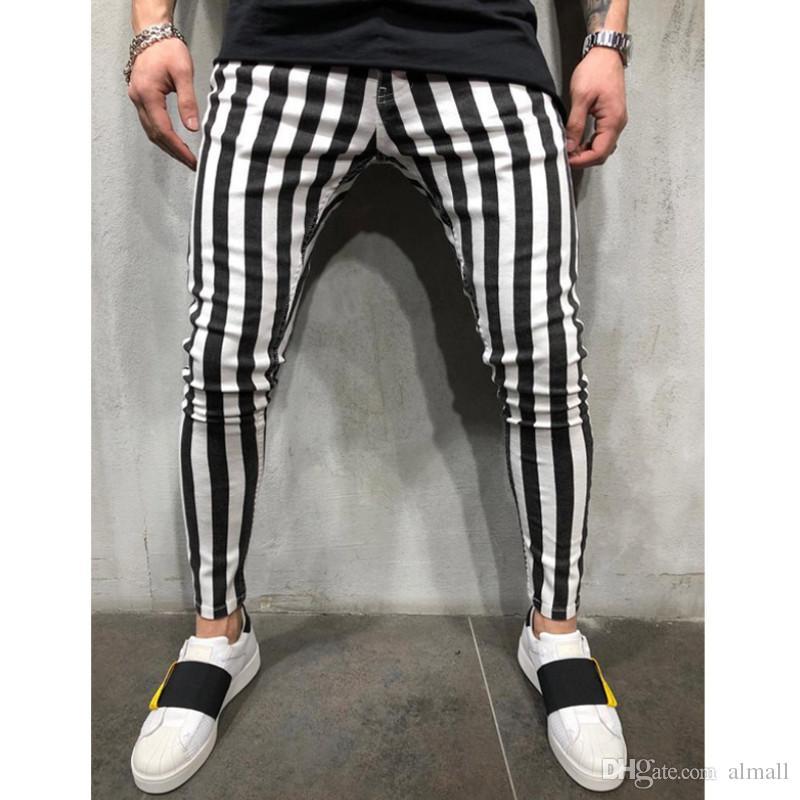 2020 delgados de la manera pantalones del verano para hombre de estiramiento de la tela escocesa de rayas pantalones cómodos ocasionales de la alta cintura de la cremallera