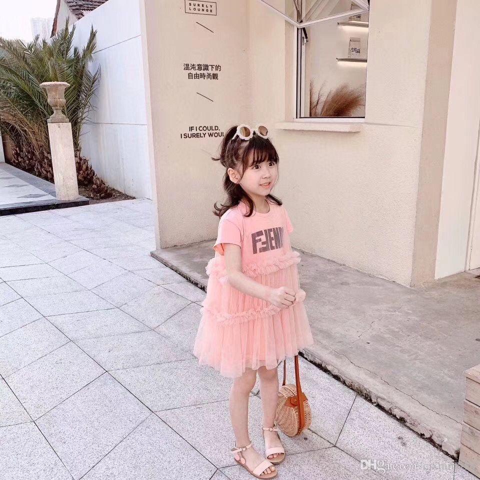 Livraison gratuite Princess Dress Bébés filles Vêtements Vêtements pour enfants Summer Party Tutu enfants Robes pour les filles tout-petits filles jupe Casual