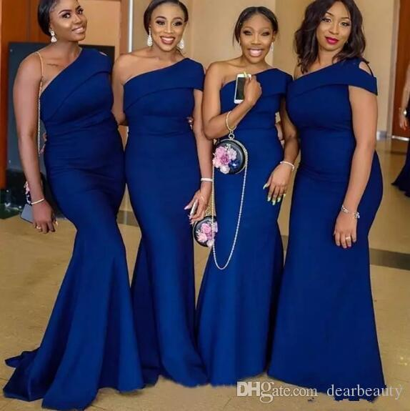 명예 드레스 플러스 사이즈의 블루 어깨 하나 인어 신부 들러리 드레스 스위프 기차 단순 아프리카 정원 나라 웨딩 게스트 드레스 메이드