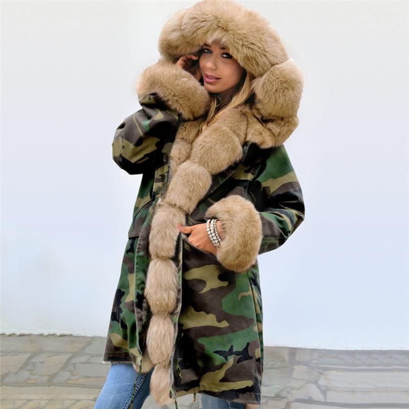 Coats Womens Womens Inverno Designer Jacket Camouflage Impresso Parkas Moda Thick com capuz senhoras Casacos com Fur