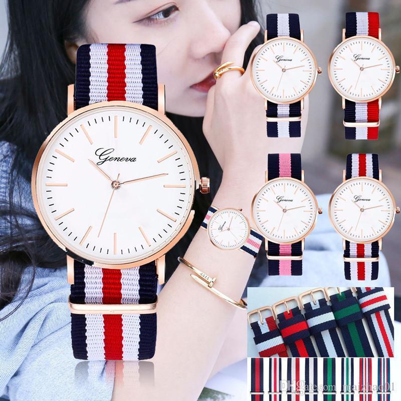 Женева Часы Vintage нейлон Canva пояса Часы ЖЕНЕВА Пары кварцевые наручные часы Женские наручные часы платье Корея Стиль Часы Браслеты 2019