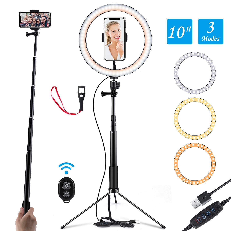 """Ringlicht 10"""" Selfie Light Ring mit verstellbarem Halter Fernbedienung 120 Birnen-Ringlicht für YouTube"""