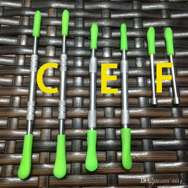왁스 도구 실리콘 상단 dab 왁스 도구와 함께 도매 금속 dab 도구 왁스 dabber 도구, 금연 손톱 스틱