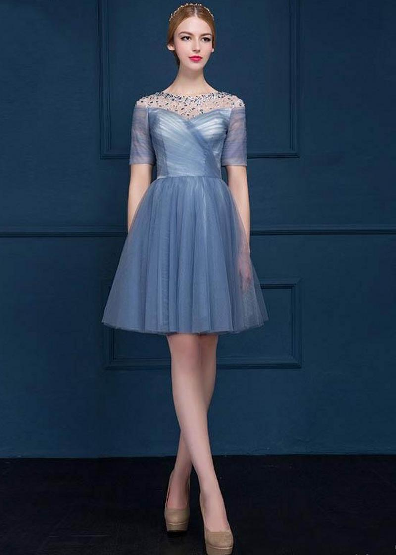 High Quality Free Shipping Short Late Spring And Summer Dance Party Evening Dress New Chiffon Bridesmaid Tee Hollow Back Strap HY121