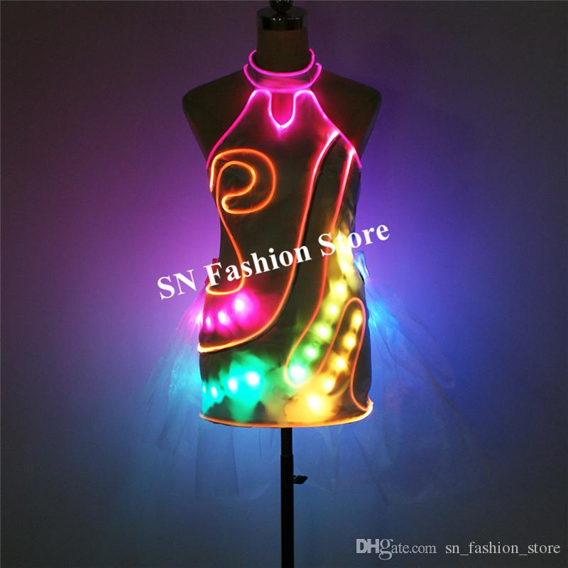 TC-208 Programmable LED dress women stage show luminous dance costumes colorful skirt full color glowing clothe led dj cheongsam wears party
