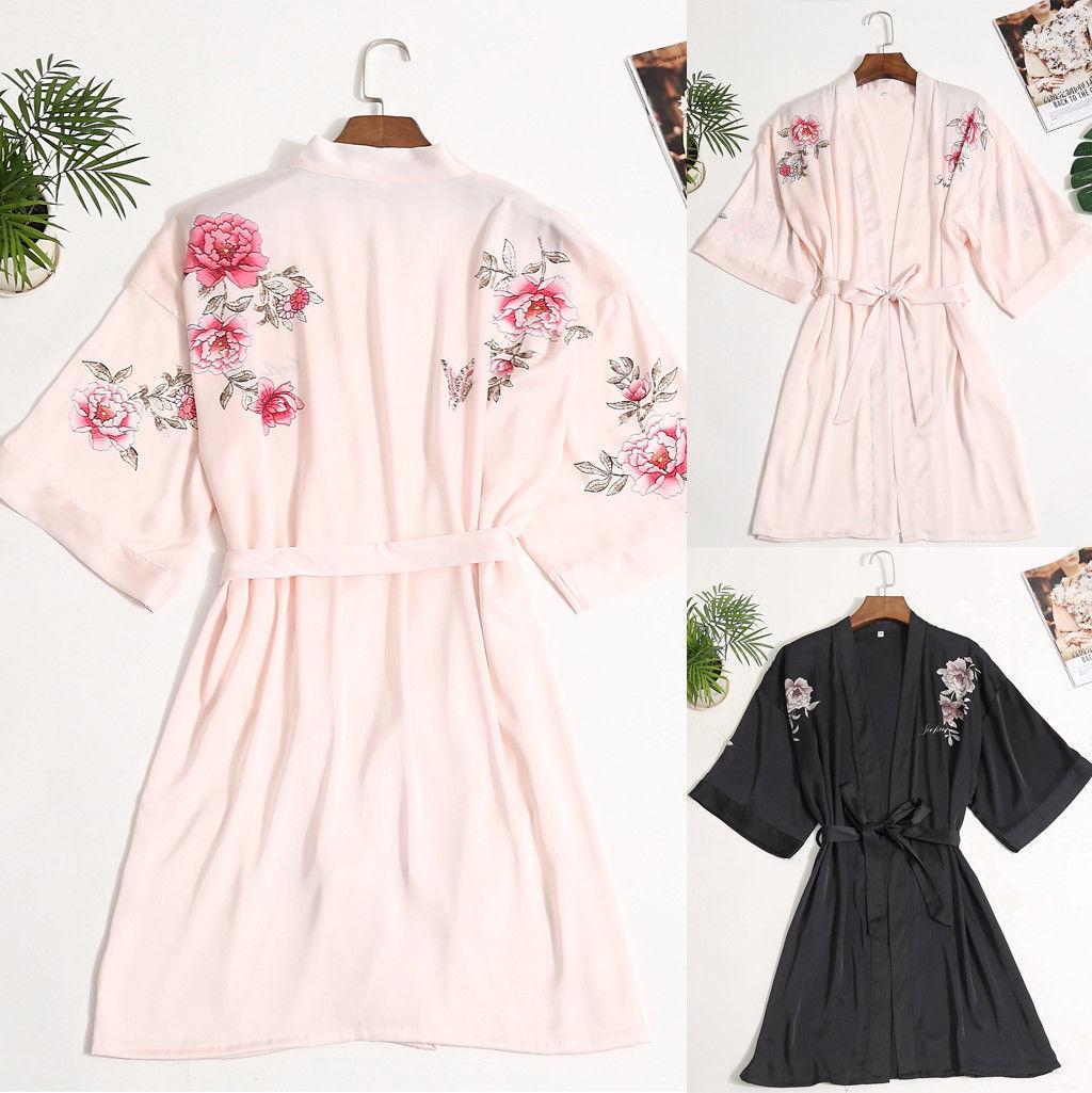 Sommer-Frauen Satin Langarm Robe Kimono Sleepdress Babydoll Hochzeit Brautjungfer Nachtwäsche Verband Robes Neue