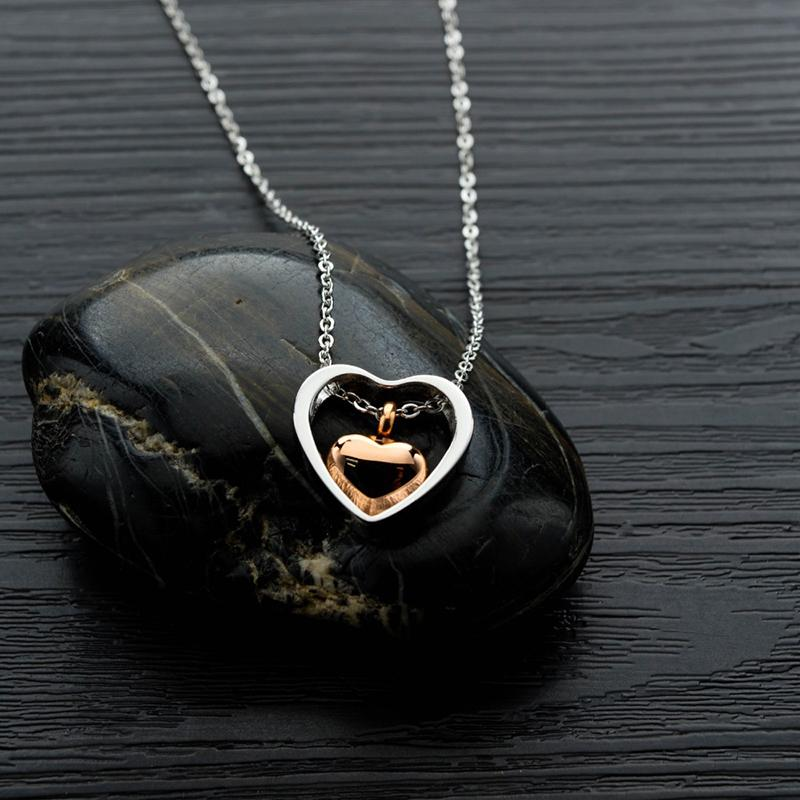 Cremation Jewelry Urn Pendant Memorial Necklace for Ashes Double Heart Cremation Memorial Keepsake for Women Men Funeral Jewelry