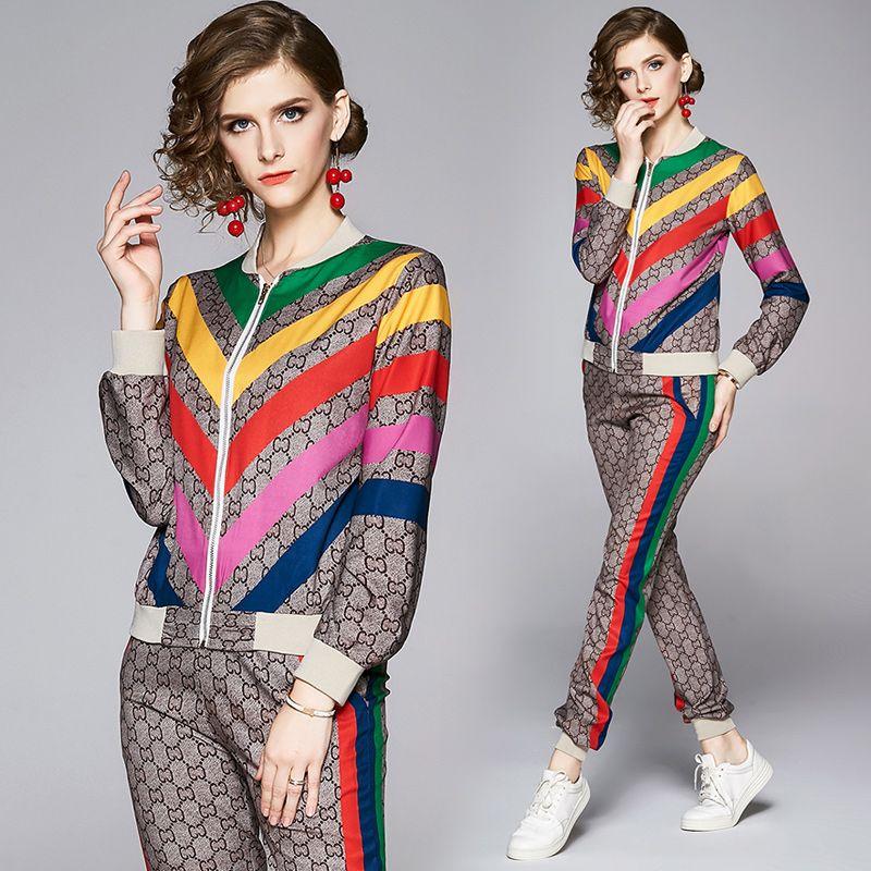 2020 взлетно-посадочная полоса Rainbow Striped двух частей наборы плюс размер женщин с длинным рукавом печать печать + длинные брюки 2 шт. Дамы дизайнер Двухструктурные брюки