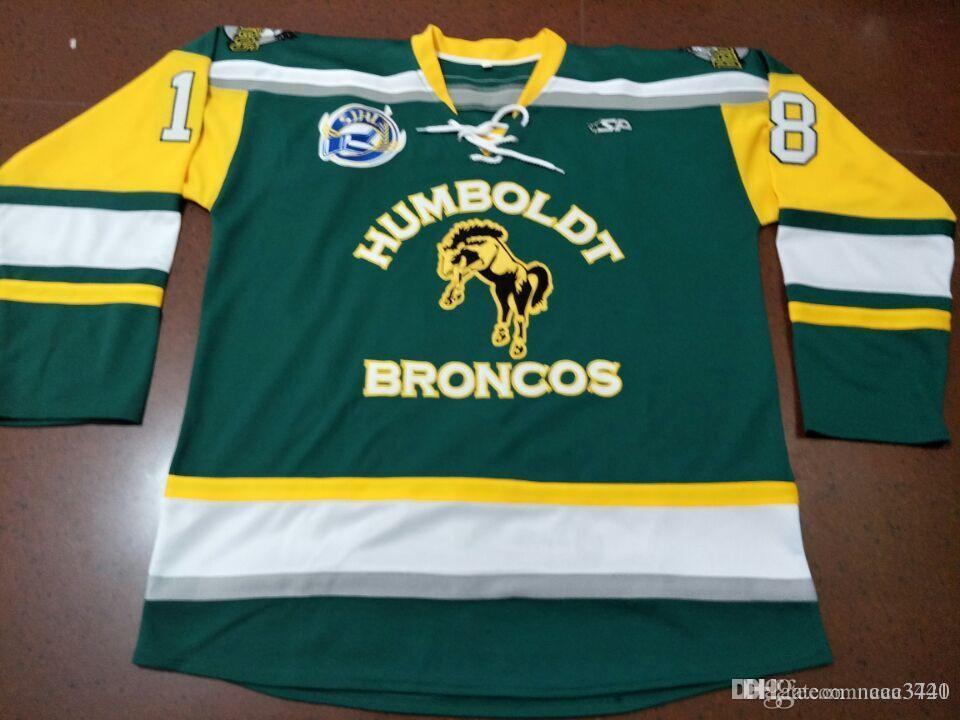 Özel erkekler Gençlik kadınlar Vintage Broncos Humboldt Broncos Humboldtstrong # 18 hokeyi Jersey boyutu S-5XL veya özel herhangi bir isim veya numarası