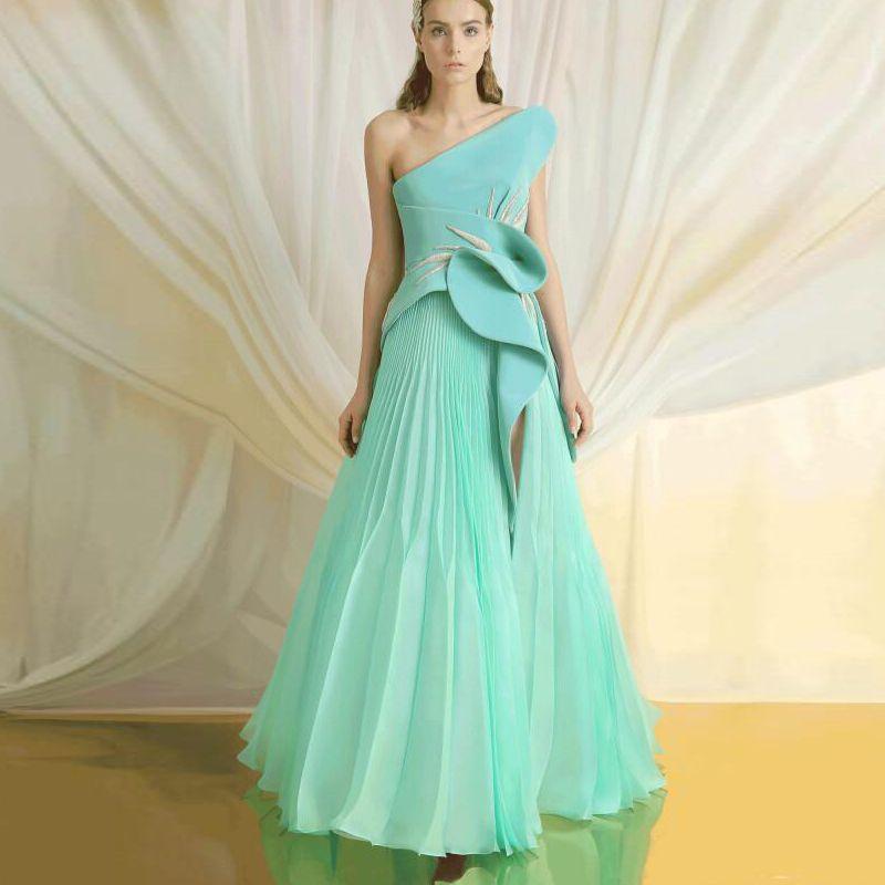 Spring Mint A-Line Formale Abendkleider One Shoulder High Split Kleider für besondere Anlässe 2019 Neue Ankunft Rüschen Applique Prom Kleider