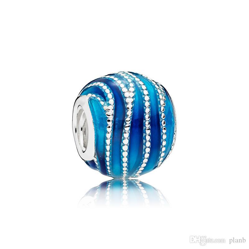 Аутентичные стерлингового серебра 925 серебро синего эмаля Vortex Clarms Оригинальная коробка для Pandora European Bead Charms для ювелирных изделий