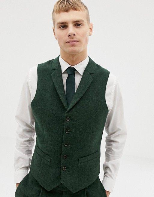 Green Groom Vests 2019 Vintage Tweed Single breasted Herringbone Pockets Men's Suit Vests Slim Fit Men's Dress Vests Wedding Waistcoat