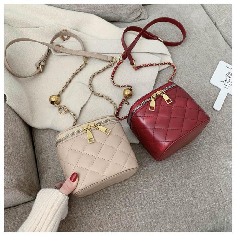 Femmes Pu Sacs doux de Crossbody chaîne en cuir de mode épaule Messenger Sac à main design Sac Casual diamant Lattice pour Femme