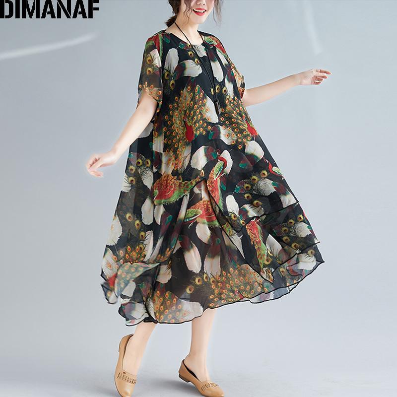 DIMANAF Artı Boyutu Kadınlar Baskı Elbiseler Vintage Zarif Lady Vestidos Şifon Plaj Elbise Yaz Sundress Gevşek Rahat Kadın 2019
