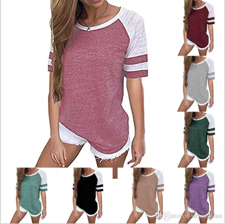 2019 Neue Frauen Kurzarm T-Shirt frauen Casual Block Nähen Tunika Blusas weibliche Panel Kurzarm Druck T-Shirt Top Plus Größe