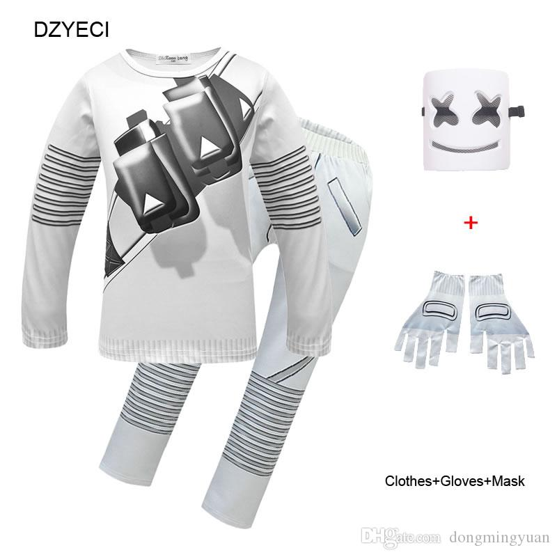 Fornite Costume For Big Boy Girl Set Clothes Halloween Children Mask+T Shirt Tee+Trouser Suit Kid Sport Boutique Outfits Tracksuit