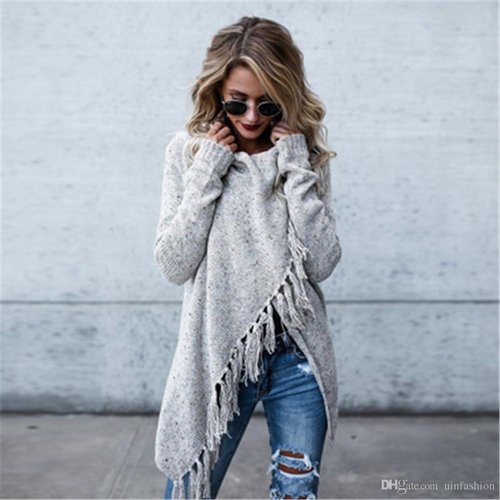 New Winter Cape Poncho Coat Women Tassel Long Sleeve Casual Outwear Cardigan Autumn Winter Ladies Fashion Fringe Shawl Coat