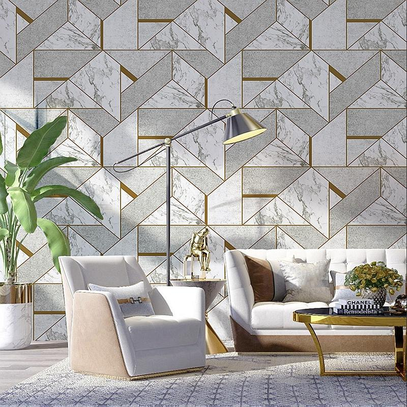 Modern 3D Grey Geometric Wallpaper Living Room Bedroom TV Background Wall  Marble Wall Papers Roll PVC Waterproof Covering Hq Wallpapers Widescreen Hq  ...