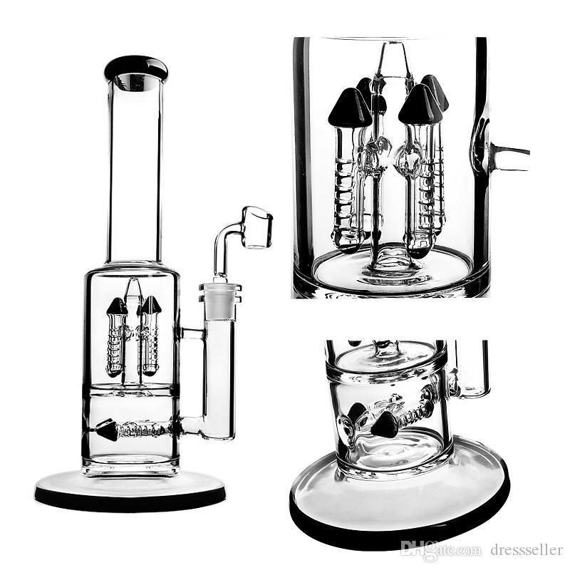 11,5 pollici Tall Bla dritto tubo di vetro acqua fumo tubo rig olio cera erba tubo di tabacco vetro audace bong narghilè con ciotola