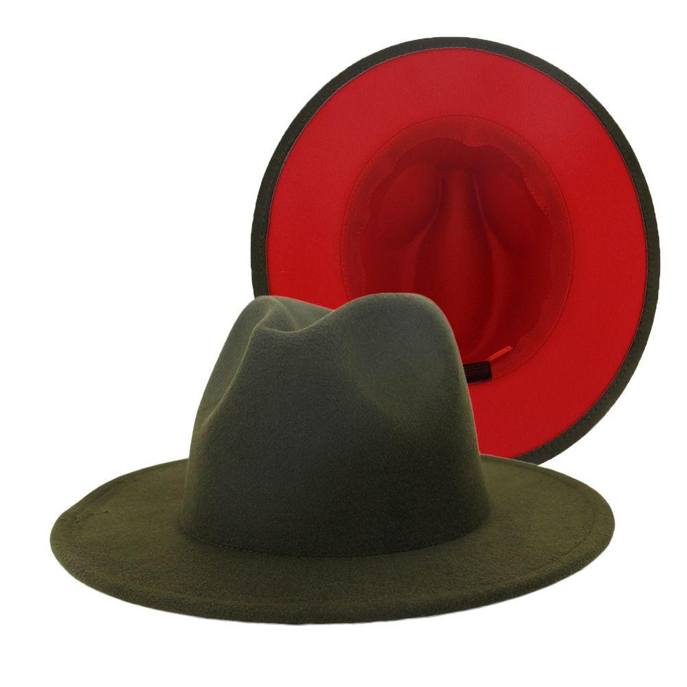 새로운 외부 육군 녹색 내부 레드 패치 워크 울 블렌드 빈티지 남성 여성 페도라 모자 트릴 플로피 재즈 벨트 버클은 태양 모자 펠트