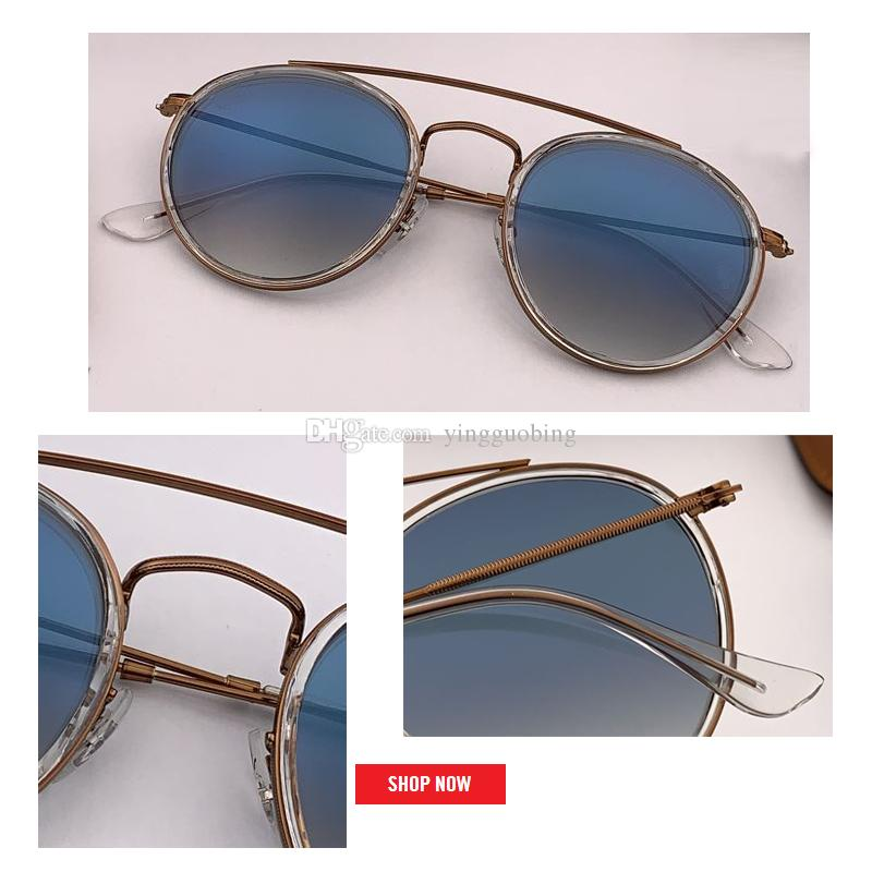 new 2019 SteamPunk Vintage Round Metal Style double bridge Sunglasses Eyewear uv400 glass Lens flash Sun Glasses Oculos De Sol 3647 2780